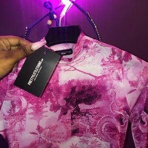 PrettyLittleThing Dresses - PrettyLittleThing Hot Pink Oriental Bodycon Dress
